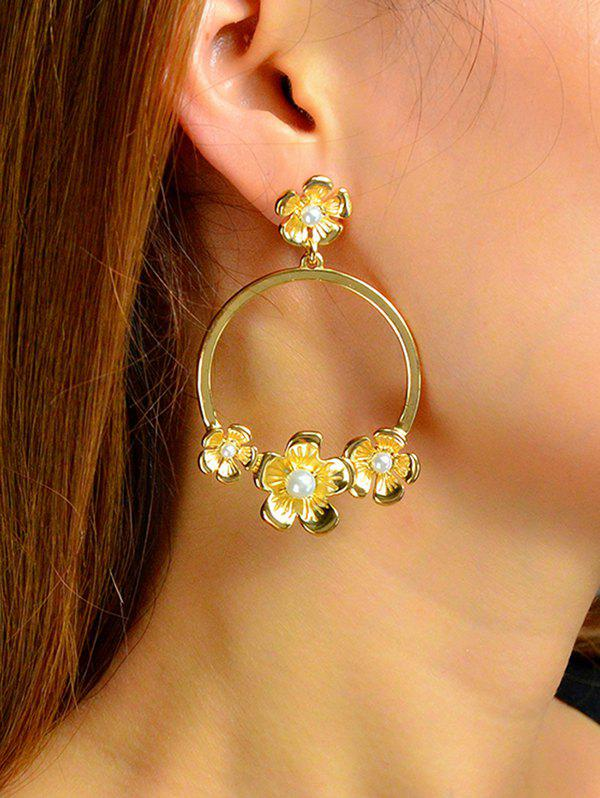 Shops Metal Artificial Pearl Flower Drop Earrings