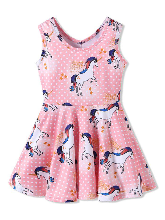 Chic Girls Unicorn Polka Dot Print Sleeveless Dress