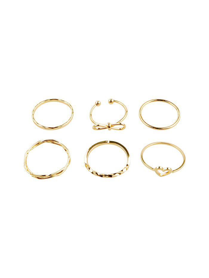 Fashion 6Pcs Bowknot Heart Hollow Joint Ring Set