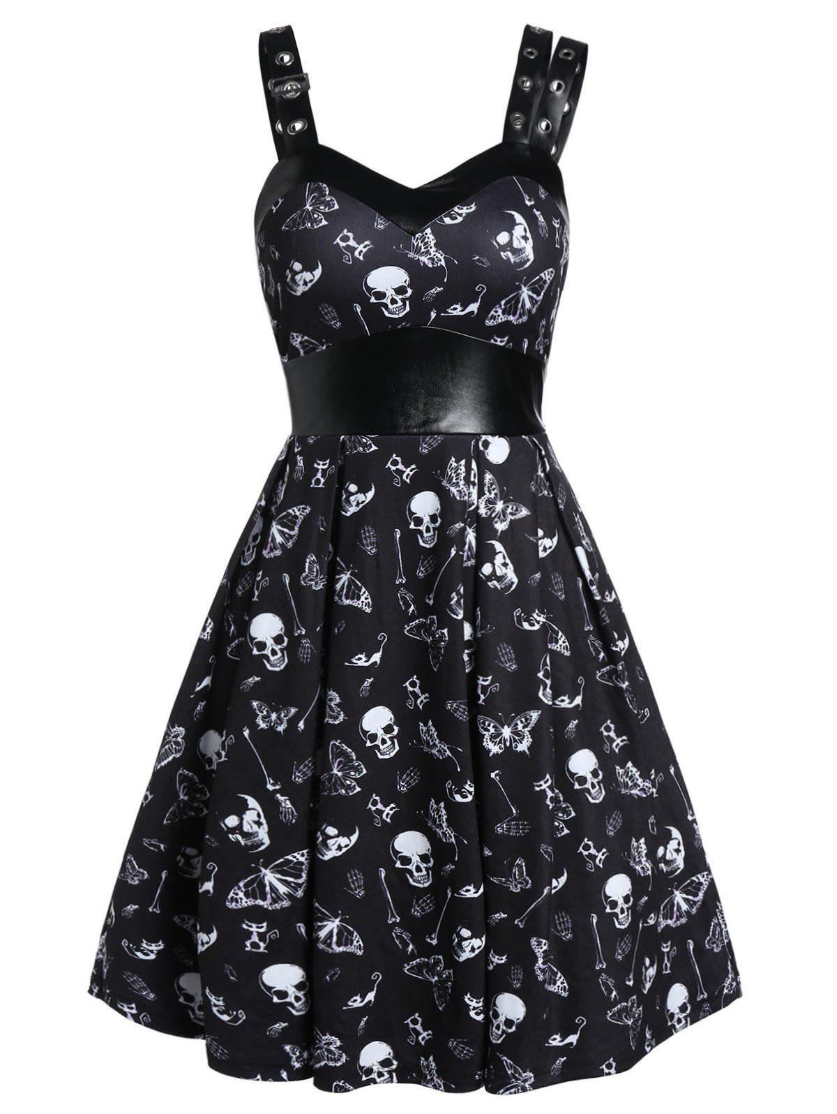 Chic Skull Print High Waist Fit And Flare Dress