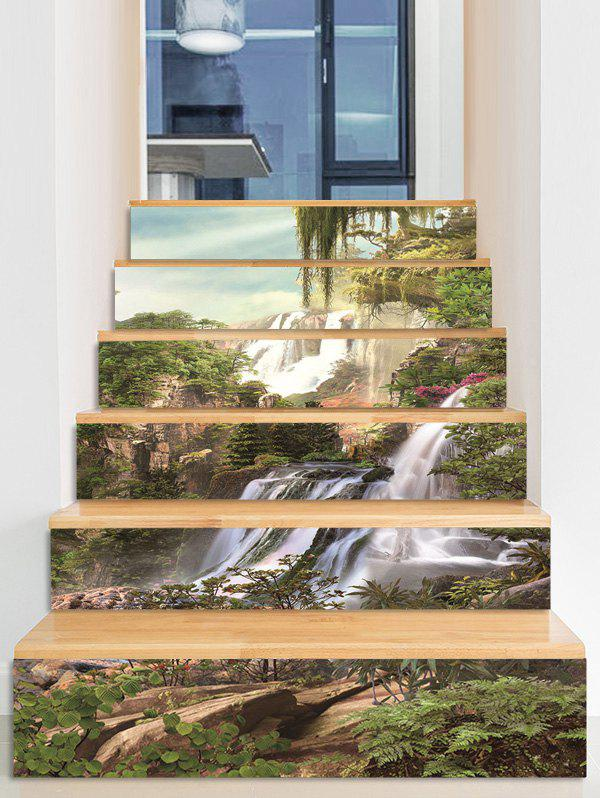 Cheap Mountain Waterfall Print Removable Stair Stickers