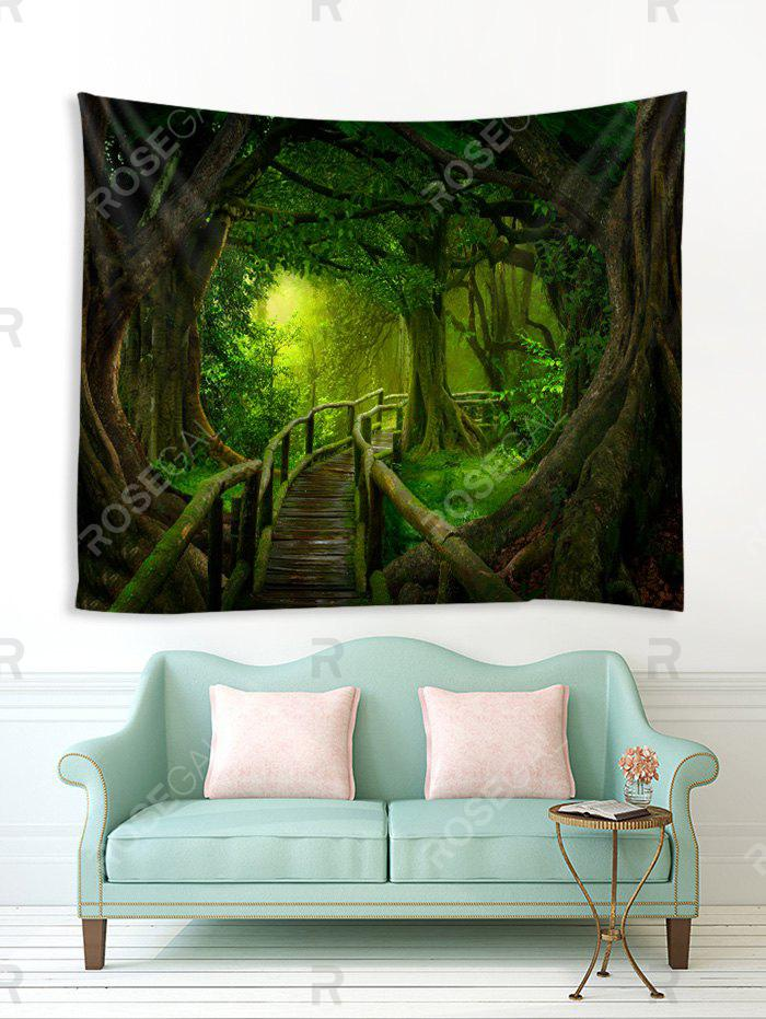 Fancy Forest Wooden Bridge Printed Tapestry Wall Hanging Art Decoration