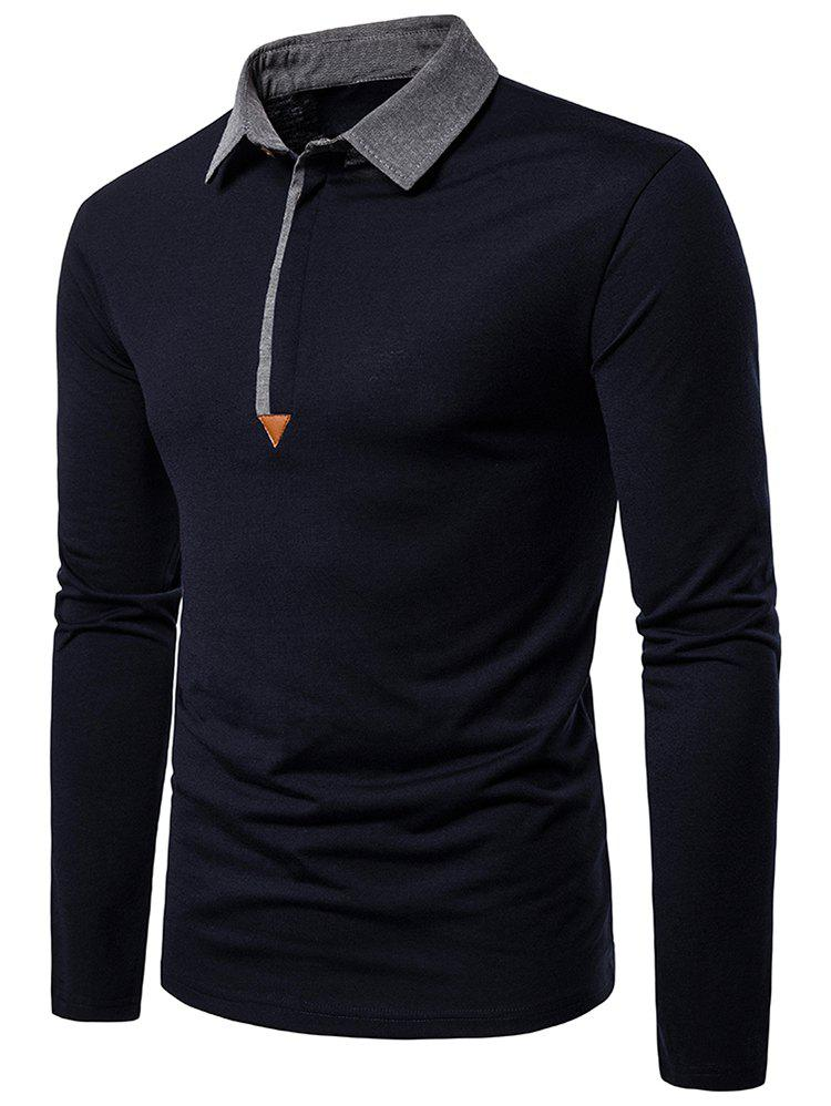 Outfit Contrast Collar Button Long Sleeve Casual Tee