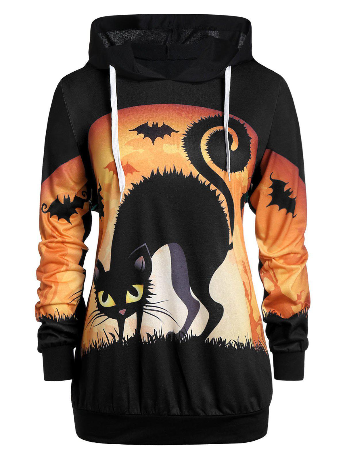 Cheap Plus Size Halloween 3D Print Drawstring Pullover Hoodie