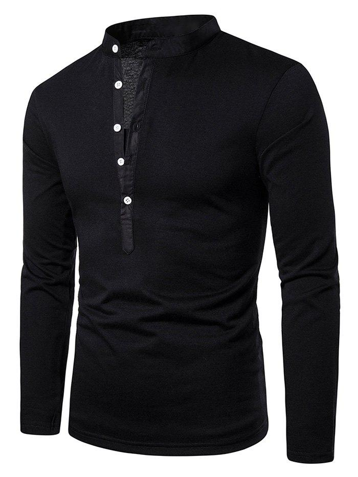 Trendy Stand Collar Henley Long Sleeve Casual T Shirt