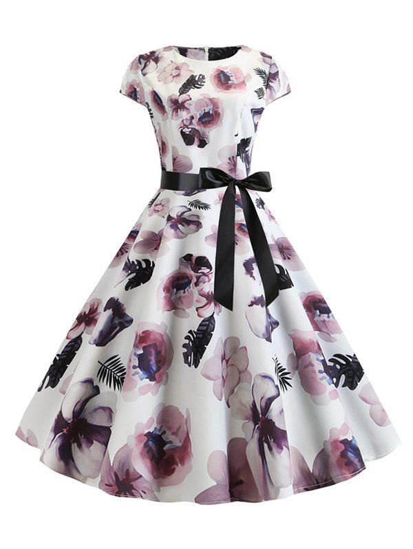 New Floral Belted A Line Retro Dress