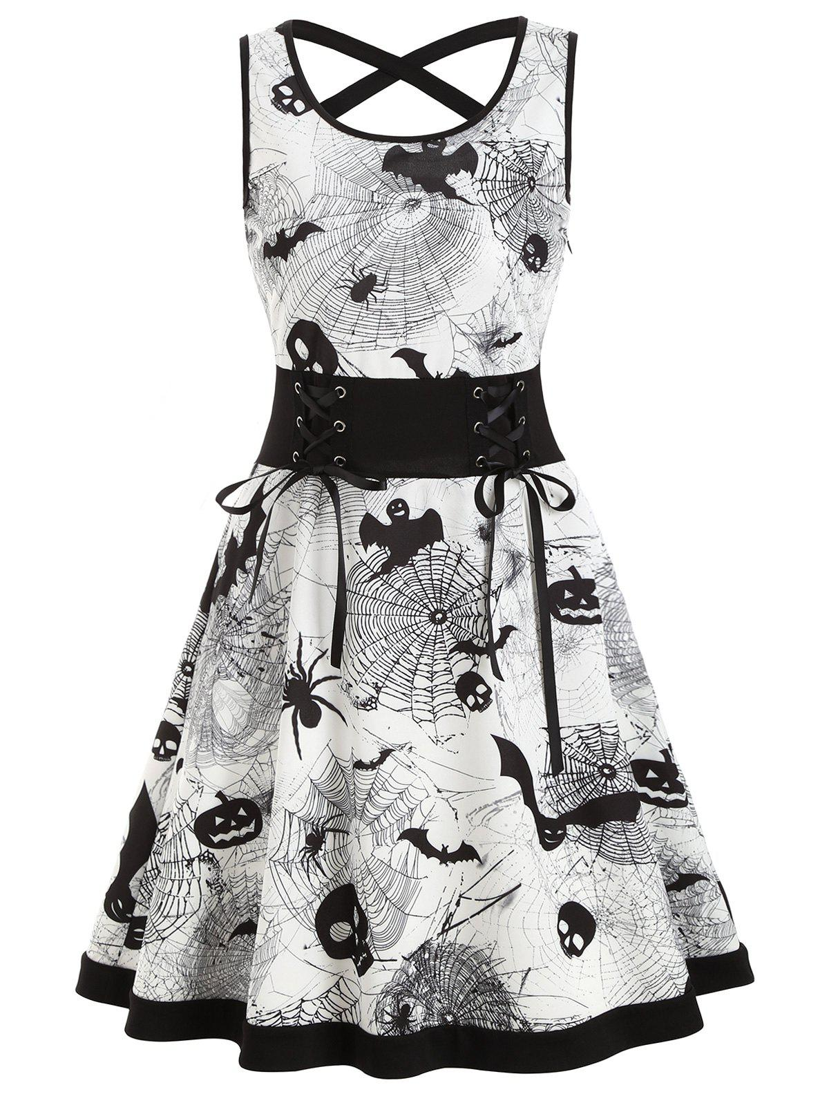 Shops Criss Cross Bat Pumpkin Halloween Flare Dress
