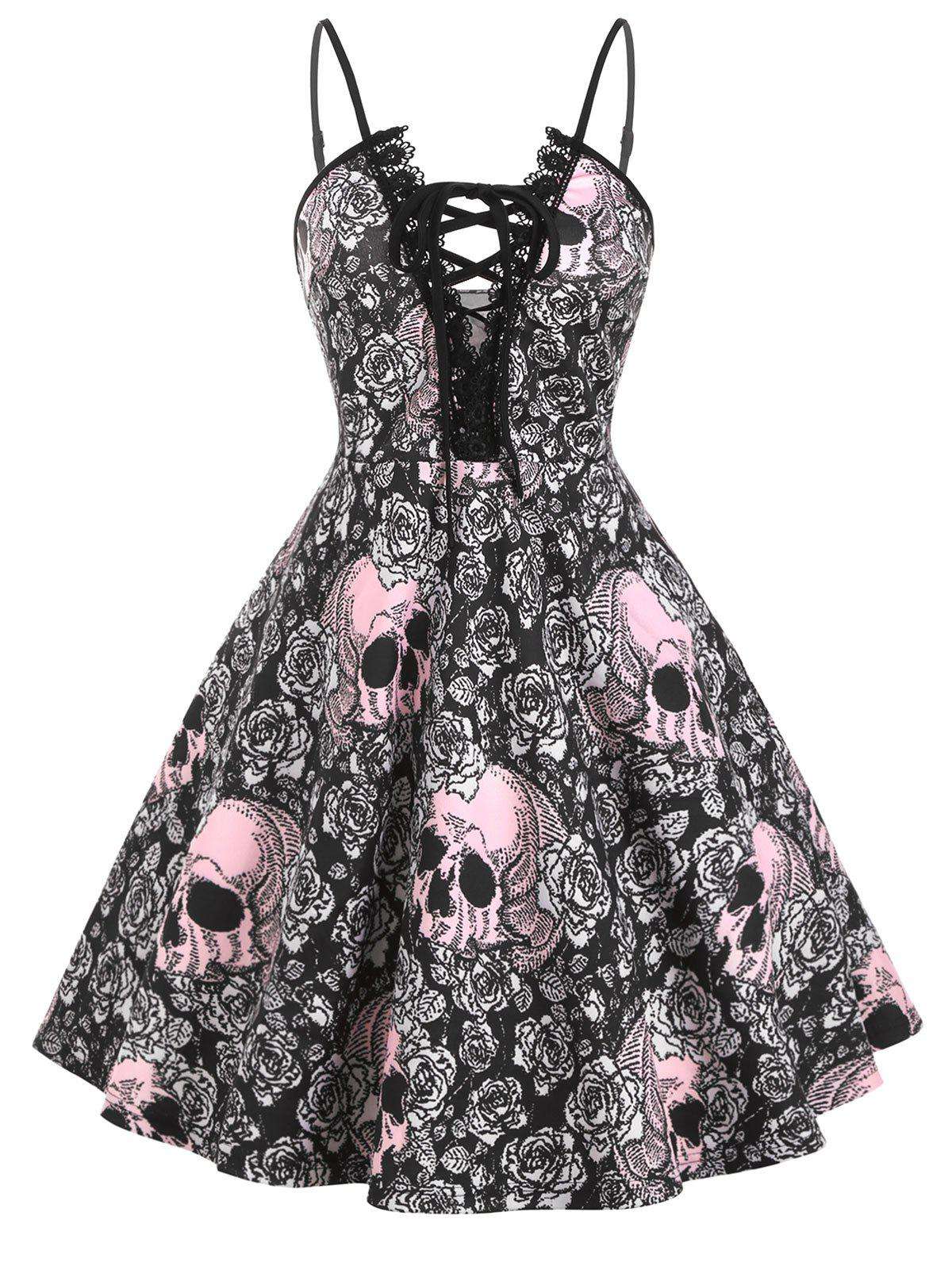 Unique Lace Trim Halloween Skull Print Lace Up Plus Size Dress