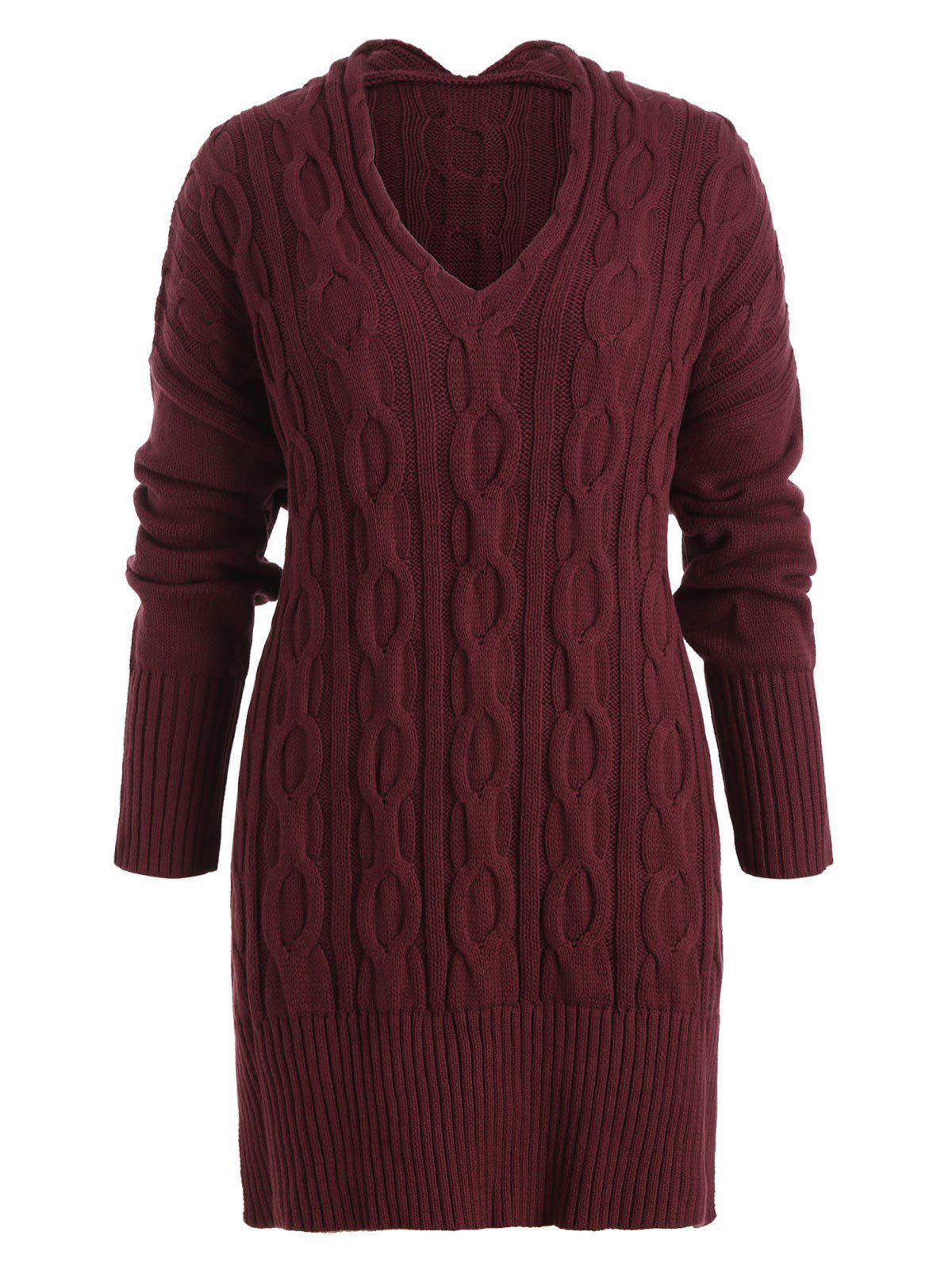 Fancy Plus Size Cable Knit Side Slit Tunic Sweater