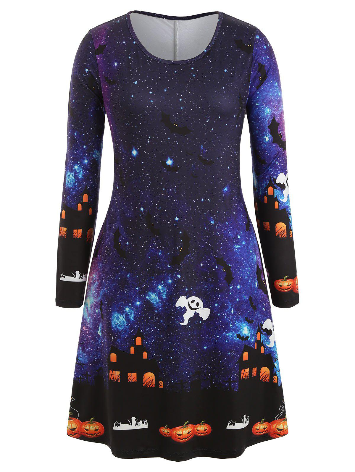 Chic Plus Size Bat Ghost Galaxy Print Halloween Dress