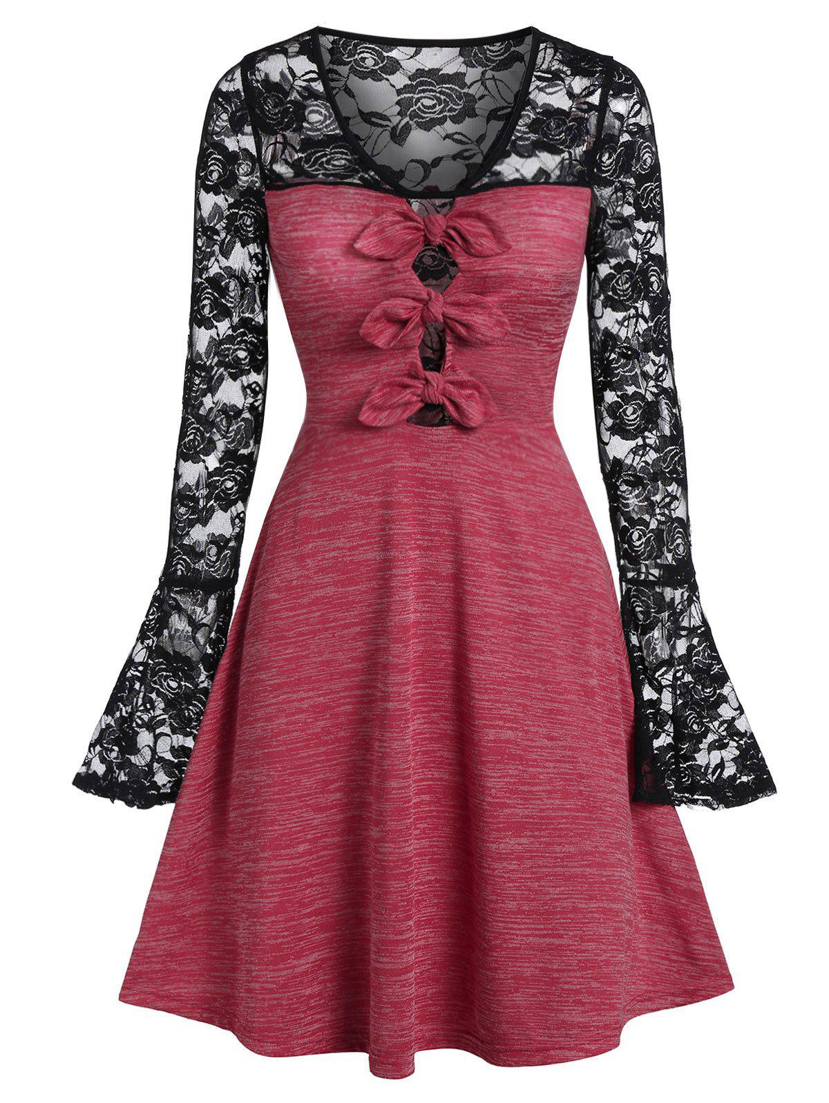 Shop Lace Insert Bowknot Space Dye Dress