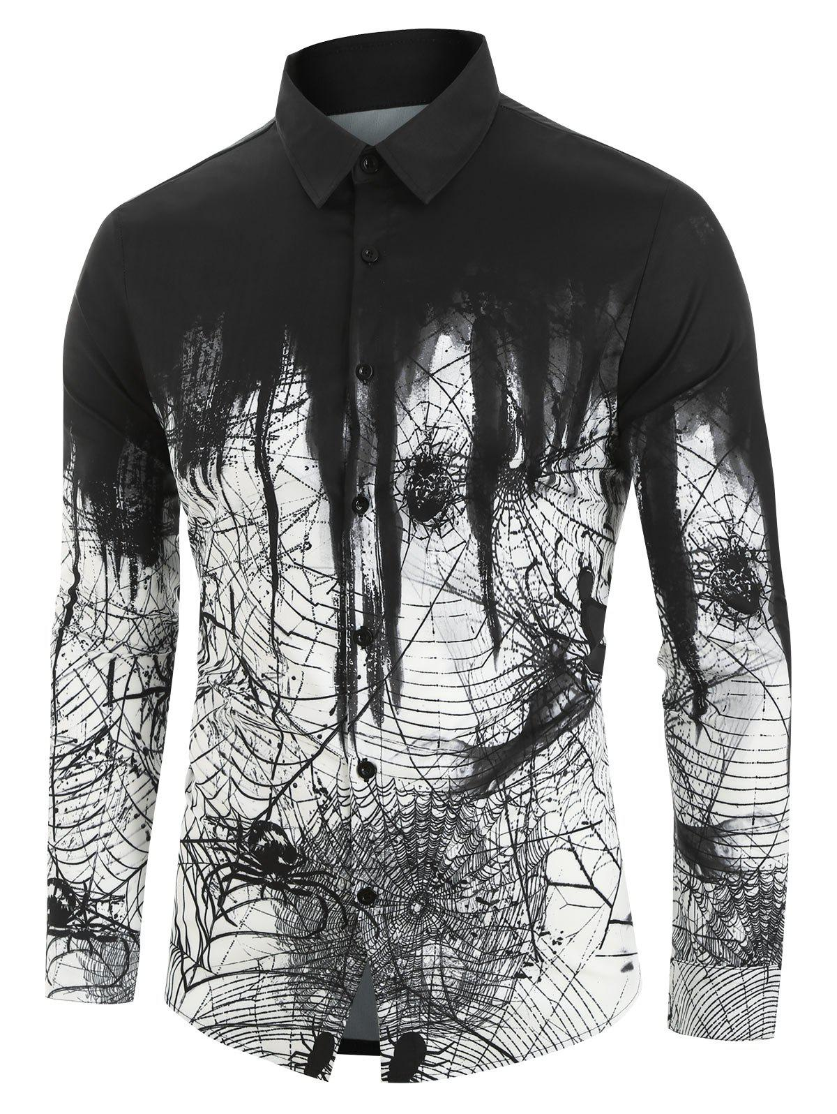 Unique Spider Printed Long Sleeves Shirt