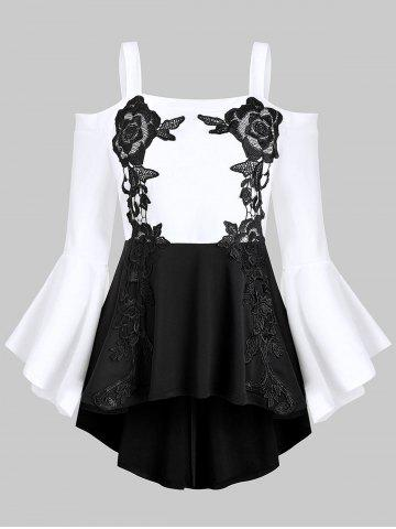Plus Size Embroidered Color Block High Low Peplum Top
