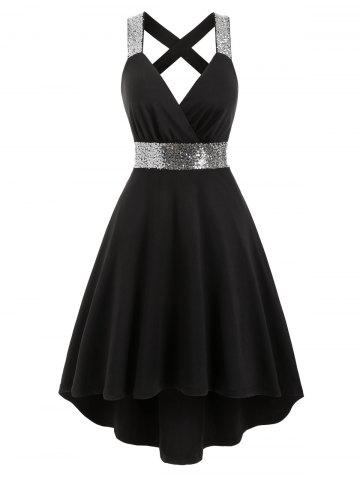 Sequins Criss Cross Dip Hem Dress
