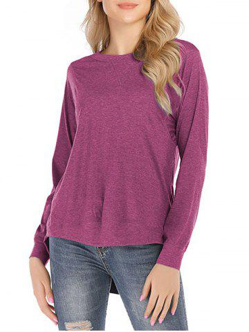 Solid Round Neck High Low Tee