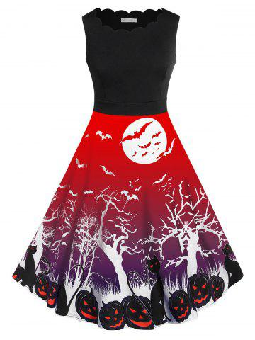 Plus Size Retro Pumpkin Bat Print Halloween Dress