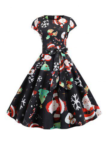 Santa Claus Snowman Belted Christmas Cap Sleeves Dress