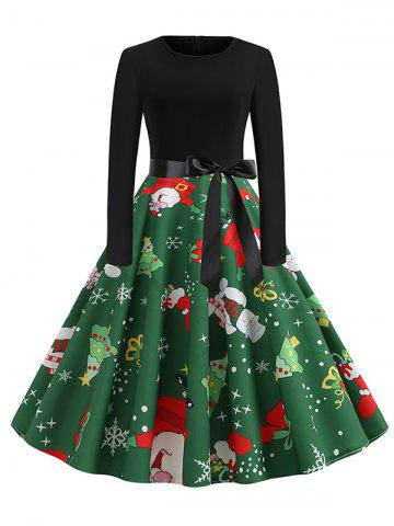 Santa Claus Snowman Christmas Belted Long Sleeves Dress