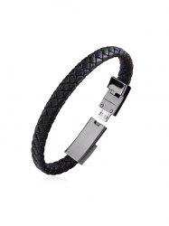 PU Leather Braided Bracelet Charging Data Cable -