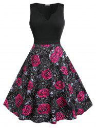 Plus Size Halloween Rose Spider Web Print Retro Pin Up Dress -