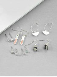 6Pairs Geometric Brief Stone Earrings Set -