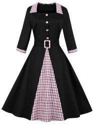 Vintage Plaid Print Mock Button Knee Length Belted Dress -