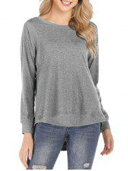 Solid Round Neck High Low Tee -