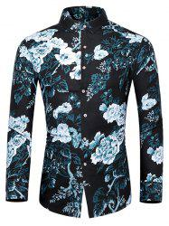 Plus Size Flower and Leaves Print Button Up Shirt -