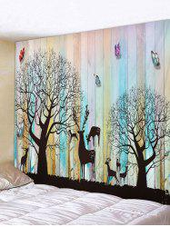 Wooden Board Tree Animals Print Tapestry Wall Hanging Art Decoration -