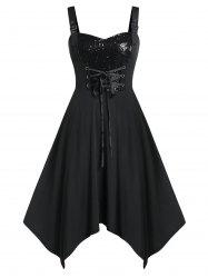 Plus Size Lace Up Sweetheart Neck Glitter Dress -