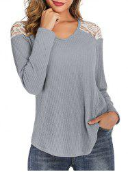 Lace Panel Curved Hem Round Neck Tee -