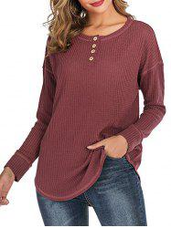 Buttoned Curved Hem Solid Tee -