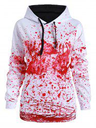 Front Pocket Paint Splatter Blood Halloween Plus Size Hoodie -
