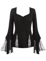 Plus Size Flare Sleeve Spider Web Lace Gothic Halloween T-shirt -