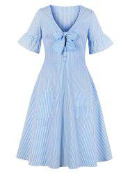 Striped Print Bowknot Poet Sleeve Mock Button Double Pocket Dress -