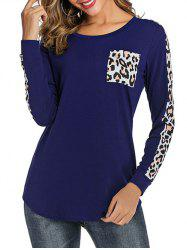 Leopard Print Round Neck Pocket Tee -