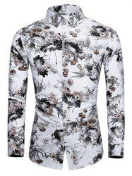 Plus Size Flower Ink Painting Print Button Up Shirt -