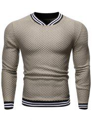 Striped Design V-Neck Casual Sweater -