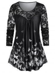 Plus Size Lace Panel Butterfly Print Sheer T Shirt -