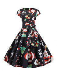 Santa Claus Snowman Belted Christmas Cap Sleeves Dress -
