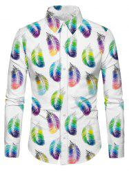 Casual Feather Print Long Sleeves Shirt -