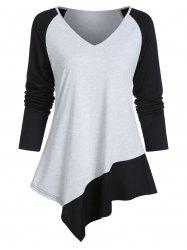 Asymmetrical Two Tone Long Sleeve V Neck Tee -