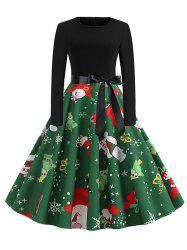 Santa Claus Snowman Christmas Belted Long Sleeves Dress -