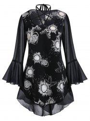 Plus Size Strappy Bell Sleeve Sheer Sun Print Blouse -