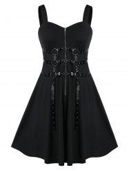 Plus Size Solid Zippered Fit And Flare Vintage Dress -