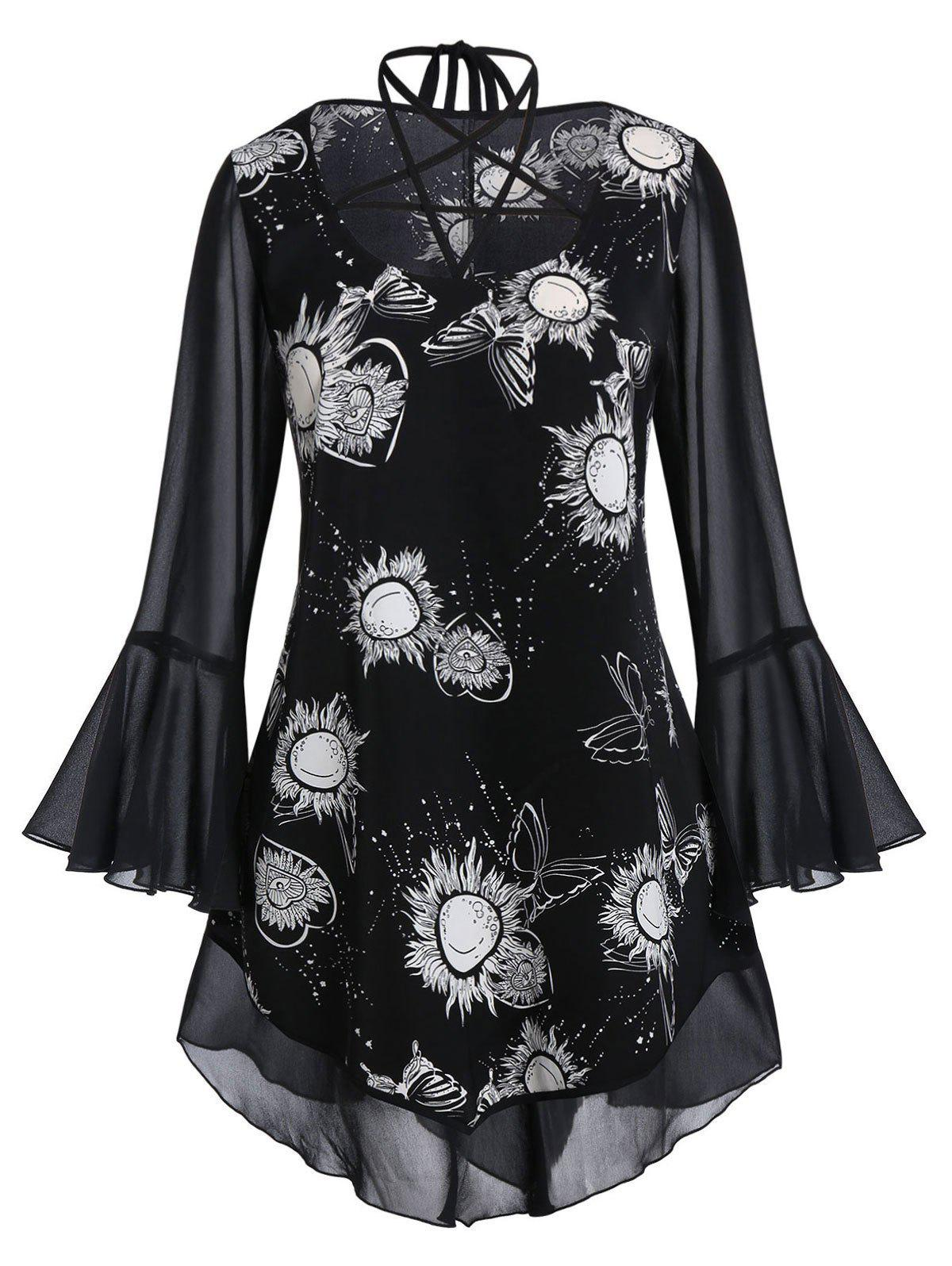 Plus Size Strappy Bell Sleeve Sheer Sun Print Blouse фото