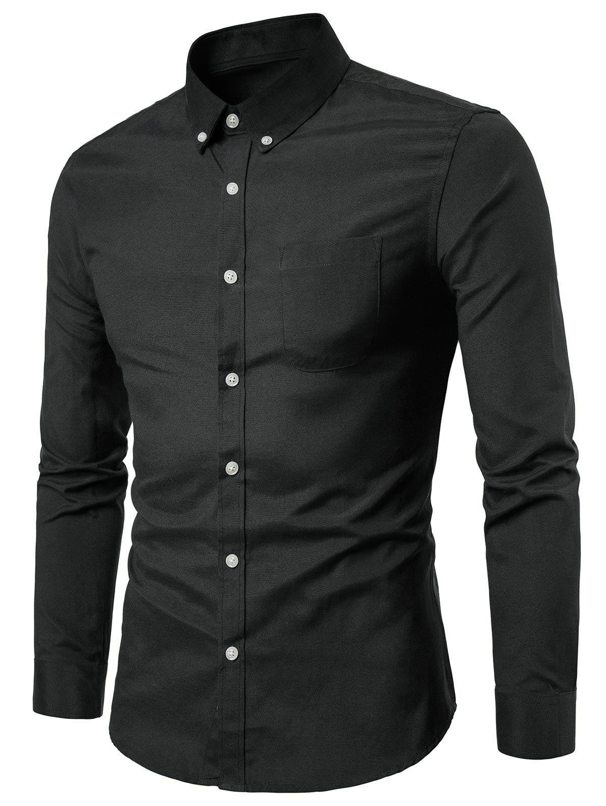 Trendy Casual Solid Color Design Long Sleeves Shirt