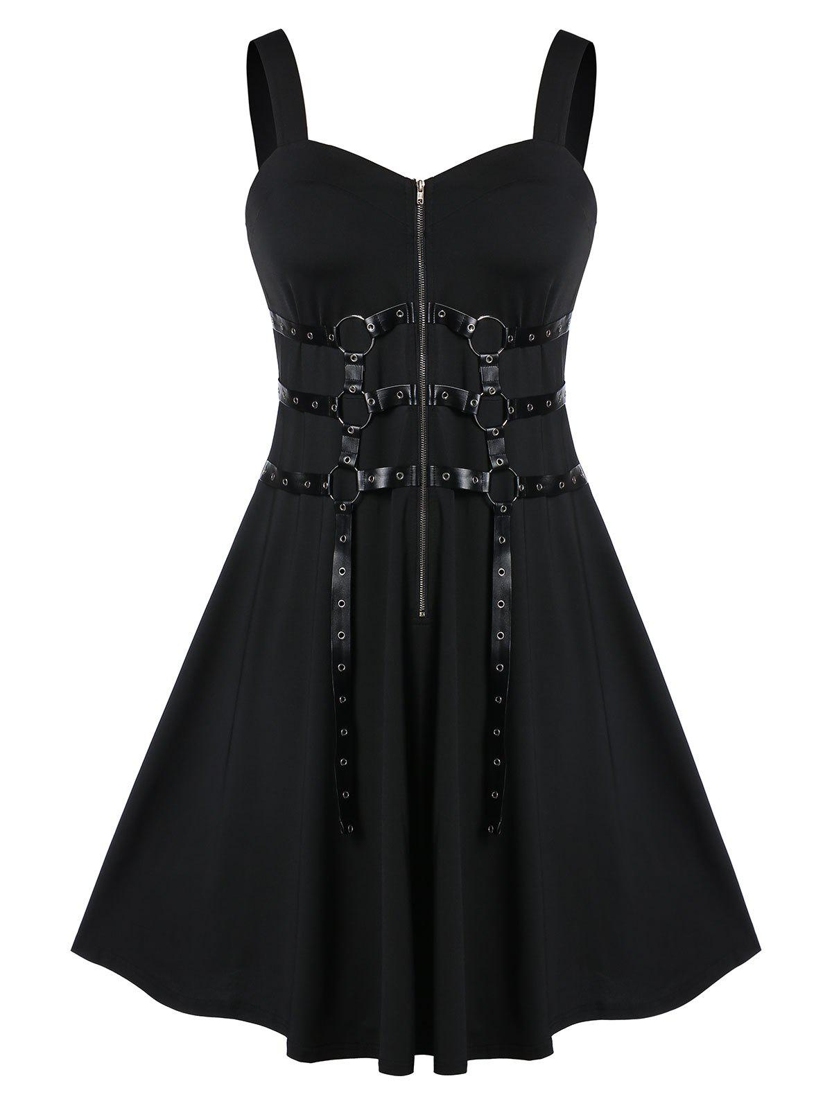 Trendy Plus Size Solid Zippered Fit And Flare Vintage Dress
