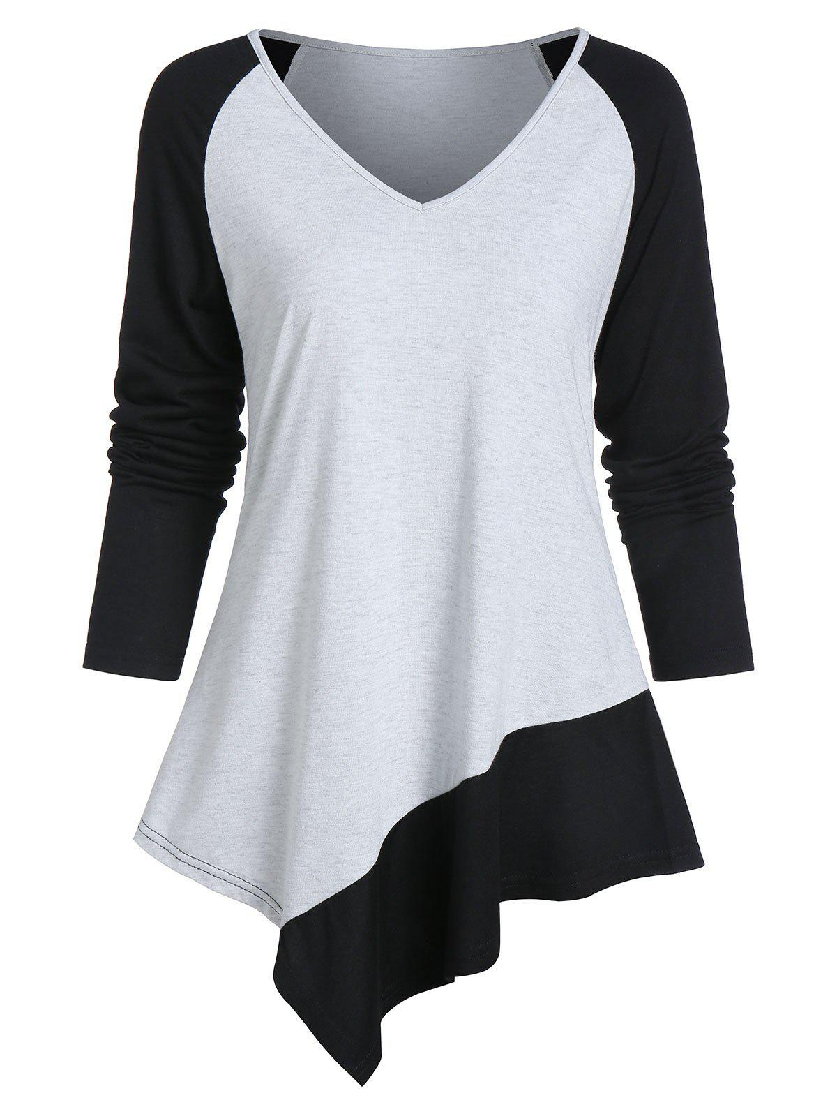 Latest Asymmetrical Two Tone Long Sleeve V Neck Tee