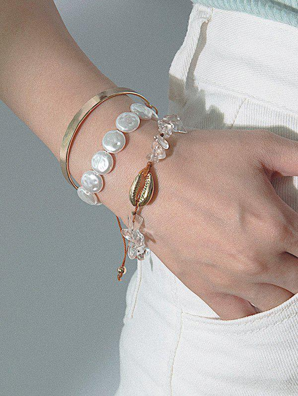 Hot 3Pcs Stone Faux Pearl Shell Bracelet Set